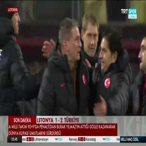 Newly appointed Turkey head coach Stefan Kuntz emotional after winning against Latvia with a goal in the 99th minute