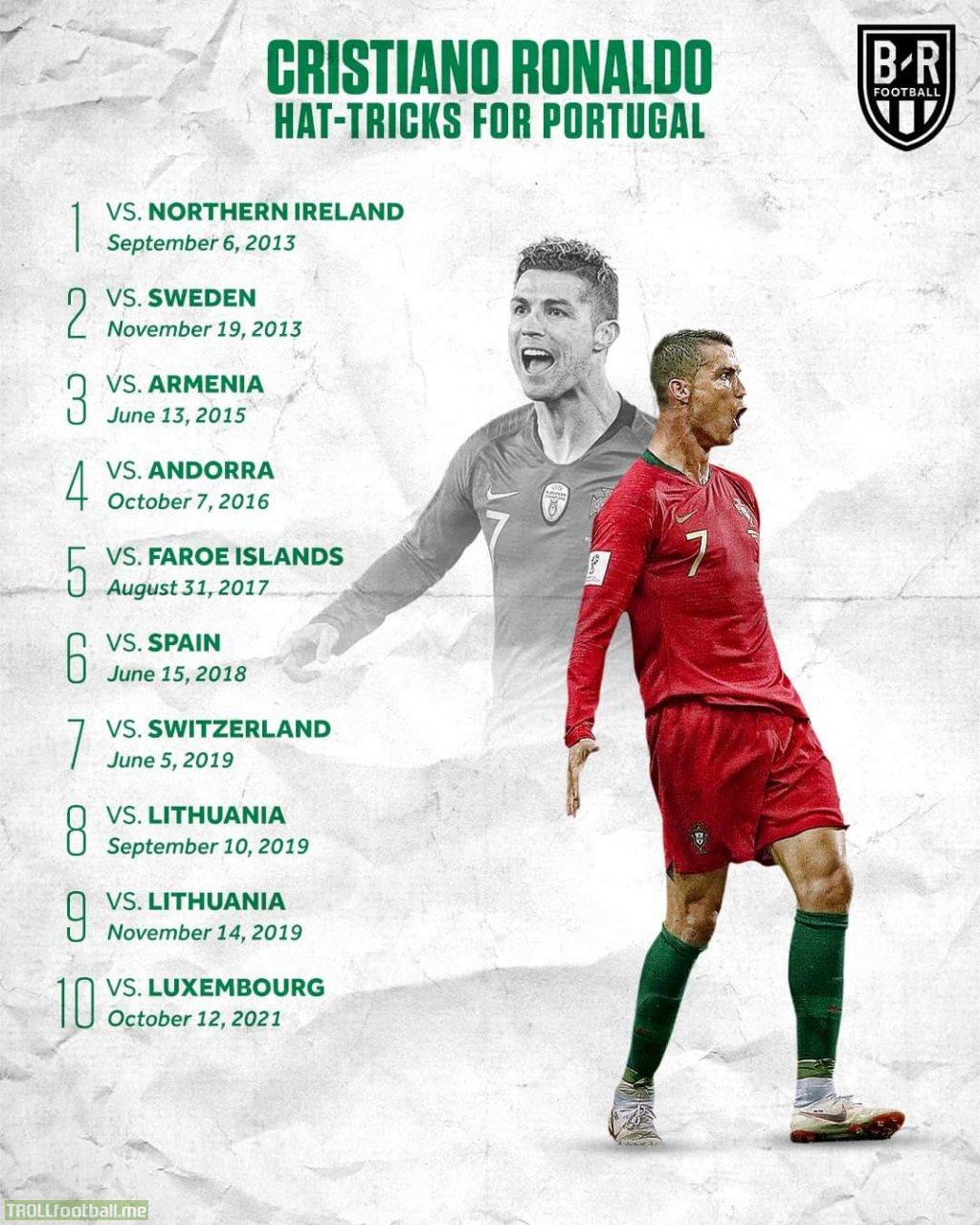 [BR Football] Cristiano Ronaldo's hat-tricks for Portugal