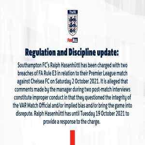 [FA Spokesperson] Southampton FC manager Ralph Hassenhüttl has been charged with two breaches of FA rules in relation to comments he made about Mike Dean after the game against Chelsea FC on 02/10/2021