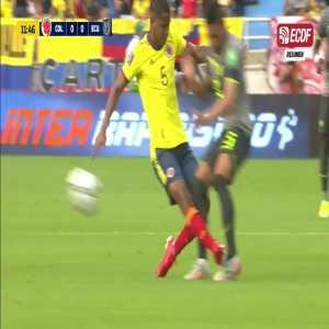 Barrios' (Colombia) tackle against Ecuador. No card was given.