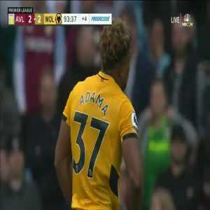 Aston Villa 2-[3] Wolves: Ruben Neves free kick 90+5'