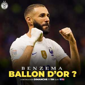 """[Téléfoot] A special """"Benzema: Ballon d'Or"""" report will air tomorrow on @telefoot_TF1. Popular football figures such as Arsene Wenger, Didier Deschamps, Raphael Varane, Hugo Lloris, and many others will give their opinion on Benzema and his Ballon d'Or hopes."""
