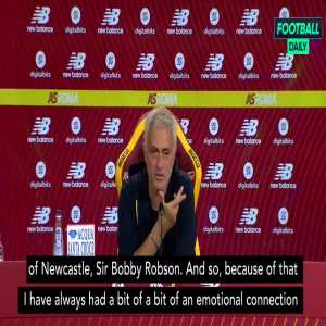 """Mourinho dismisses Newcastle rumours: """"I worked with one of the most important figures in Newcastle, Sir Bobby Robson. Because of that, I always had a bit of an emotional connection with the city and the fanbase. So it's nothing more than that. I'm 100% focused on Roma and the Friedkin project."""""""