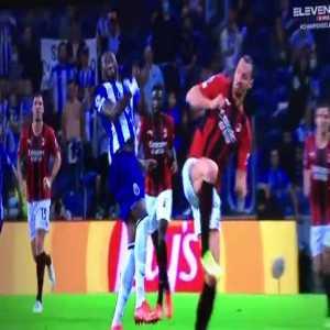 Zlatan Ibrahimovic foul vs Chancel Mbemba