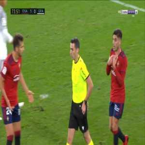 Cote (Osasuna) straight red card against Granada 74'