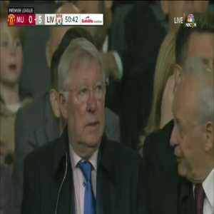 Shot of Alex Ferguson in the stands shaking his head given the shocking scoreline!