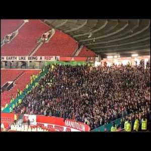 """Liverpool away fans singing """"Ole's at the wheel"""" at Old Trafford - Oct 24, 2021"""