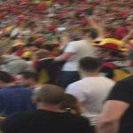 Belgium fans serenade an Irish fan (Hungary-Belgium)