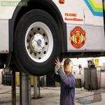 Jose Mourinho putting the finishing touches on his Man United bus ahead of the game vs Chelsea.