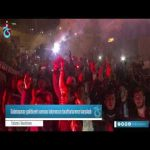 Trabzonspor fans greet team at the airport after beating Galatasaray
