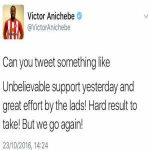 Victor Anichebe's tweet after yesterday's game
