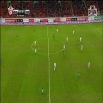 Adilson of FC Terek loses a dance battle against the ball, Manuel Fernandes of FC Lokomotiv scores (Lokomotiv Moscow - Terek Grozny 2-0)