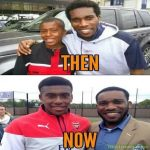 Alex Iwobi with his legendary uncle Jay-Jay Okocha then and now.