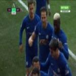 Chelsea players celebrating with the steward after Pedro's goal