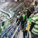 Zenit fan tries to take Irish flag off of Celtic fans