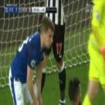 Seamus Coleman with a brilliant defensive header to deny Newcastle an equalizer in last minute