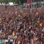 Mexico fans celebrating the Lozano goal at the Berlin Fan Park