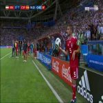 Milad Mohammadi failed throw-in against Spain