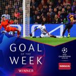 Ousmane Dembélé wins his first Champions league goal of the week