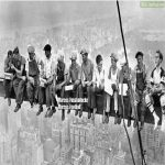 German Workers building the Empire State Building, (1930, colorized)