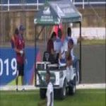 Player gets ran over by cart during game.