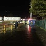 Only in the welsh premiership. Game suspended as fire crew tackle fire of a floodlight or control room at the stadium.