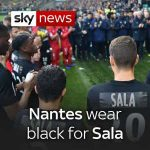 Nantes players wear all black in tribute to former player Emiliano Sala. They had the name Sala stuck to their backs as they remembered the 28-year-old.