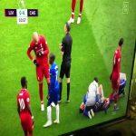 Fabinho blowing his nose on Hazard