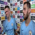 Bernardo Silva gives his MOTM award to Phil Fodenh