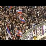 Hajduk Split player Stanko Jurić gets on the stand after the match and starts the chant