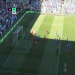 Sean Morrison miss against Liverpool 64'