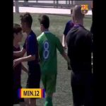 Barcelona U-12 player Genís Torrelles scores two identical goals within 1 minute