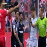Ever Banega (Sevilla) straight red card against Girona 90'+6'