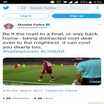 Mumbai police giving driving tips with the help of 4th Liverpool goal!