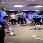 Manchester City Celebrations in Dressing Room, Kitman going wild!