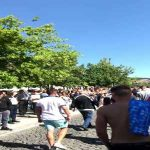 England Fans given a Guard of Honour by locals as they leave Guimarães