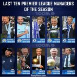 Last ten Premier League managers of the season