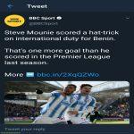 Steve Mounie scored a hat-trick on international duty for Benin. That's one more goal than he scored in the Premier League last season.