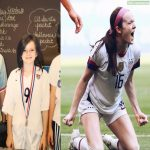 Rose Lavelle in Elementary School dressed as Mia Hamm and then her yesterday, after she scored a goal against the Netherlands.