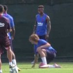 Griezmann gets nutmegged by Rakitic in his first training session with Barca.