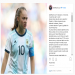 (Womens Football) Argentina's Estefania Banini reacts angrily after shunned from the national team for the PanAmerican games for apparently plotting against the manager