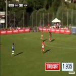 Oumar Niasse rainbow flick hits the post vs. AS Monaco