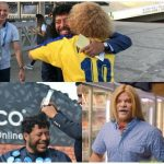 Rene Higuita and El Pibe Valderrama get hair makeover to promote betting house in Colombia.