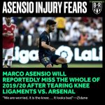 Asensio's injury seems pretty serious and he could miss the whole of the 19/20 season[BRFootball]