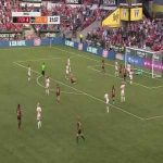 Lindsey Horan(Portland Thorns) goes for the bicycle kick but a great save by Jane Campbell(Houston Dash) keeps it out