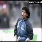 "[Retro, April 19th 1989] Maradona warming up to ""Live is Life"" before the UEFA Cup semifinal away in Germany."