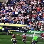 Rangers fans celebrating last minute winner jump on the roof of disabled section and it it collapses