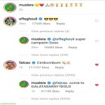 "Falcao comments ""Cimbombom"" (GS Cheer) on Muslera's post"