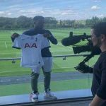 Ryan Sessegnon posing for his Tottenham unveiling.