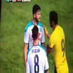 Kostas Manolas reminding Luis Suarez that Barca blew a 3-0 lead and he scored the decisive goal